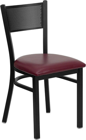 Black Grid Back Metal Restaurant Chair - Burgundy Vinyl Seat
