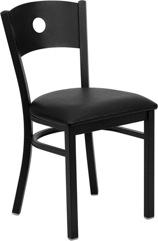 Black Circle Back Metal Restaurant Chair - Black Vinyl Seat