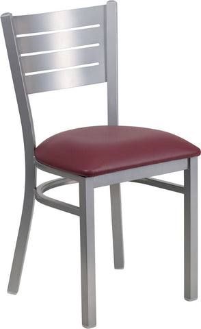 Silver Slat Back Metal Restaurant Chair - Burgundy Vinyl Seat