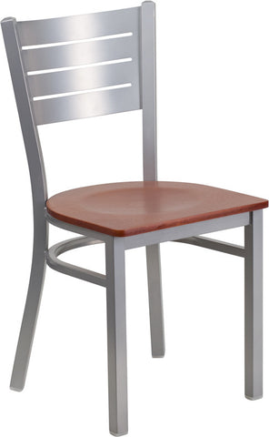 Silver Slat Back Metal Restaurant Chair - Cherry Wood Seat