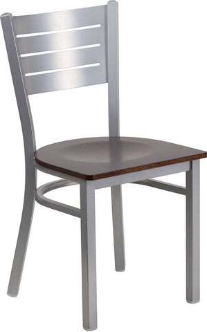 Silver Slat Back Metal Restaurant Chair - Walnut Wood Seat