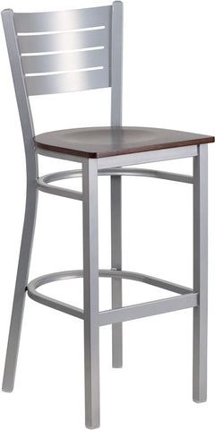 Silver Slat Back Metal Restaurant Barstool - Walnut Wood Seat