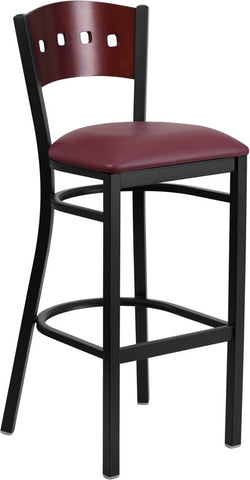 Black Decorative 4 Square Back Metal Restaurant Barstool - Mahogany Wood Back, Burgundy Vinyl Seat
