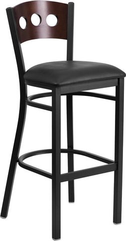 Black Decorative 3 Circle Back Metal Restaurant Barstool - Walnut Wood Back, Black Vinyl Seat
