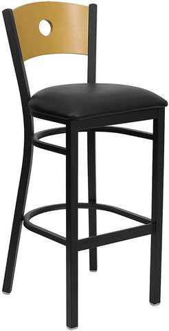 Black Circle Back Metal Restaurant Bar Stool - Natural Wood Back, Black Vinyl Seat