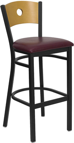 Black Circle Back Metal Restaurant Bar Stool - Natural Wood Back, Burgundy Vinyl Seat