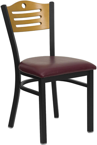 Black Slat Back Metal Restaurant Chair - Natural Wood Back, Burgundy Vinyl Seat