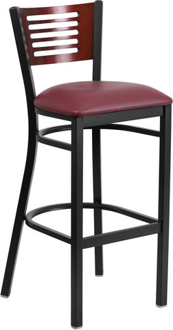 Black Decorative Slat Back Metal Restaurant Barstool - Mahogany Wood Back, Burgundy Vinyl Seat