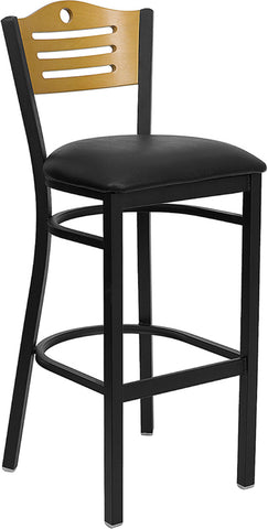 Black Slat Back Metal Restaurant Bar Stool - Natural Wood Back, Black Vinyl Seat