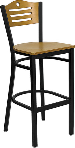 Black Slat Back Metal Restaurant Bar Stool - Natural Wood Back & Seat
