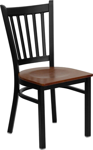 Black Vertical Back Metal Restaurant Chair - Cherry Wood Seat