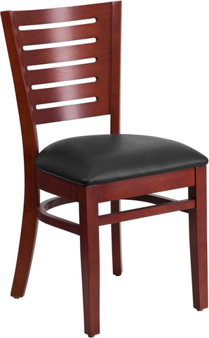 Slat Back Mahogany Wooden Restaurant Chair - Black Vinyl Seat