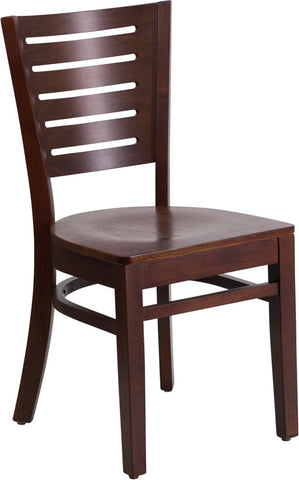Slat Back Walnut Wooden Restaurant Chair