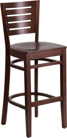Slat Back Walnut Wooden Restaurant Barstool