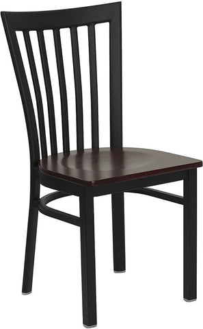 Black School House Back Metal Restaurant Chair - Mahogany Wood Seat