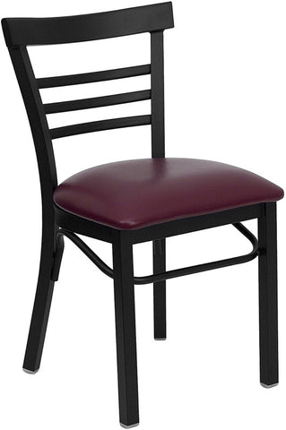 Black Ladder Back Metal Restaurant Chair - Burgundy Vinyl Seat