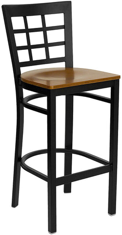 Black Window Back Metal Restaurant Bar Stool - Cherry Wood Seat