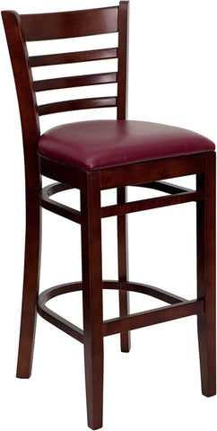 Mahogany Finished Ladder Back Wooden Restaurant Bar Stool - Burgundy Vinyl Seat