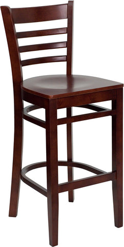 Mahogany Finished Ladder Back Wooden Restaurant Bar Stool