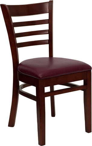 Mahogany Finished Ladder Back Wooden Restaurant Chair - Burgundy Vinyl Seat