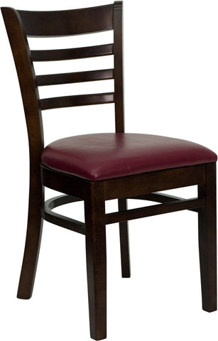 Walnut Finished Ladder Back Wooden Restaurant Chair - Burgundy Vinyl Seat