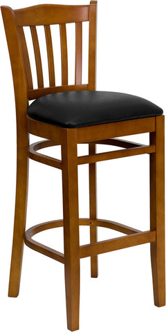 Cherry Finished Vertical Slat Back Wooden Restaurant Bar Stool - Black Vinyl Seat