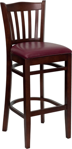 Mahogany Finished Vertical Slat Back Wooden Restaurant Bar Stool - Burgundy Vinyl Seat