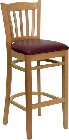 Natural Wood Finished Vertical Slat Back Wooden Restaurant Bar Stool - Burgundy Vinyl Seat
