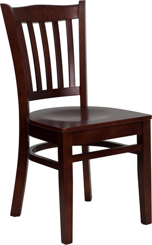 Mahogany Finished Vertical Slat Back Wooden Restaurant Chair