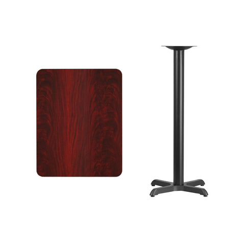 Rectangular Mahogany Laminate Table Top with 22'' x 22'' Bar Height Table Base
