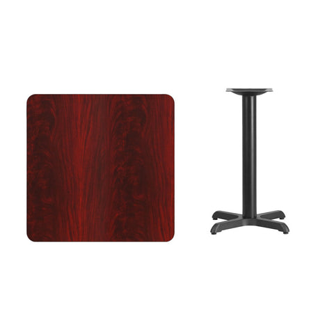 Square Mahogany Laminate Table Top with 22'' x 22'' Table Height Base