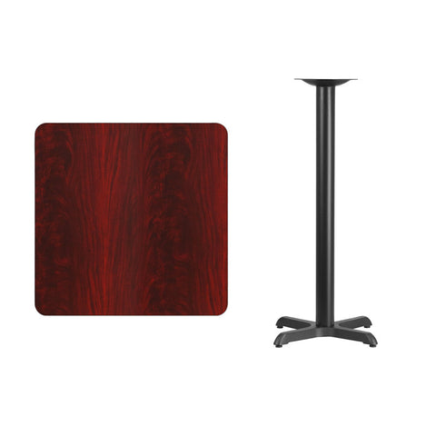 Square Mahogany Laminate Table Top with 22'' x 22'' Bar Height Table Base