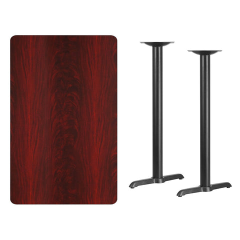Rectangular Mahogany Laminate Table Top with 5'' x 22'' Bar Height Table Bases