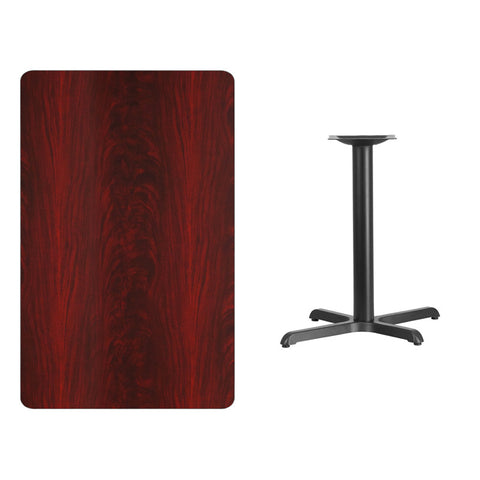 Rectangular Mahogany Laminate Table Top with 22'' x Table Height Base