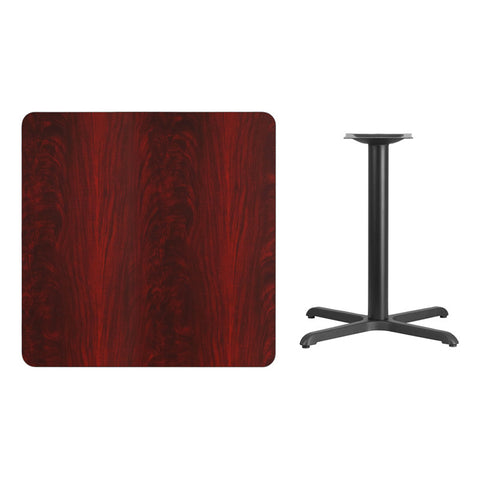Square Mahogany Laminate Table Top with x Table Height Base