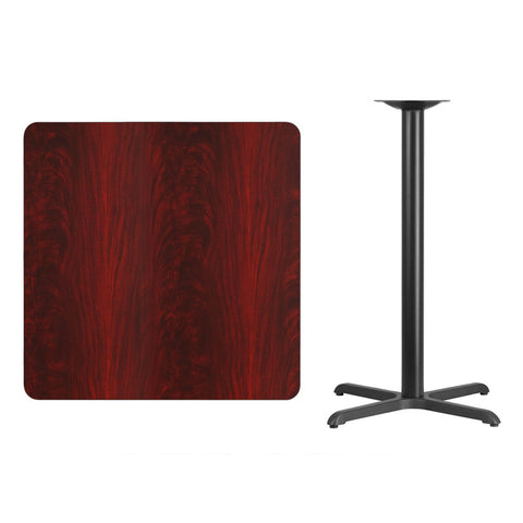 Square Mahogany Laminate Table Top with x Bar Height Table Base