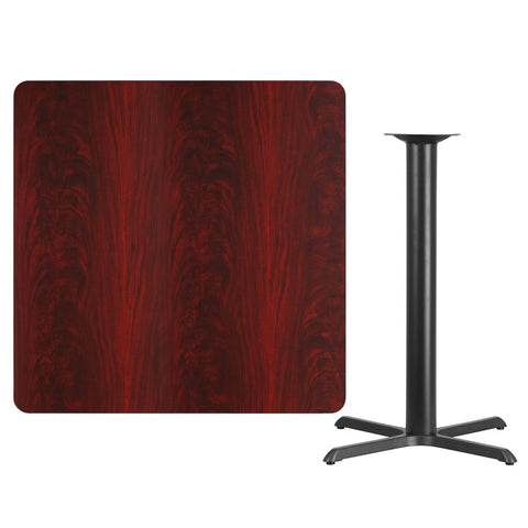 Square Mahogany Laminate Table Top with 33'' x 33'' Bar Height Table Base