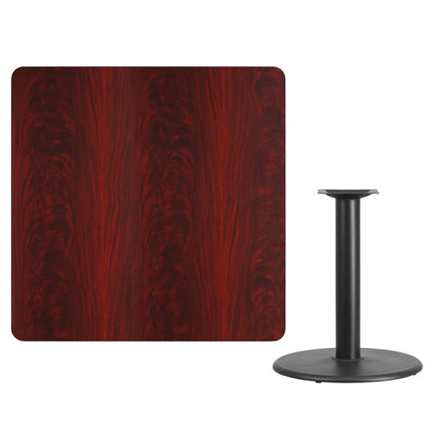 Square Mahogany Laminate Table Top with Round Table Height Base