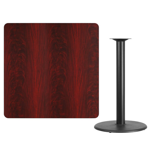 Square Mahogany Laminate Table Top with Round Bar Height Table Base