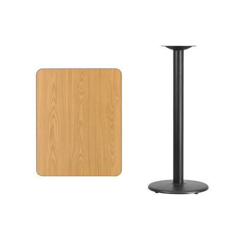 Rectangular Natural Laminate Table Top with 18'' Round Bar Height Table Base