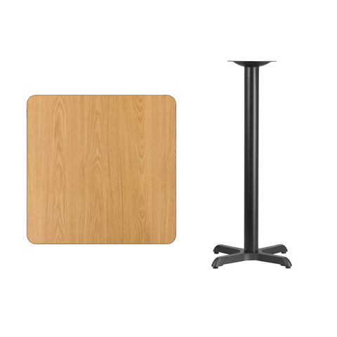 Square Natural Laminate Table Top with 22'' x 22'' Bar Height Table Base