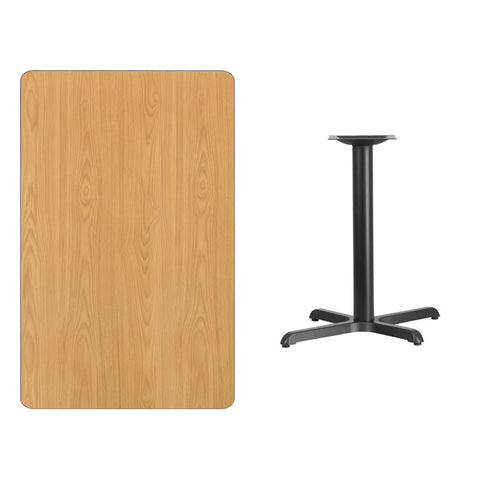 Rectangular Natural Laminate Table Top with 22'' x Table Height Base