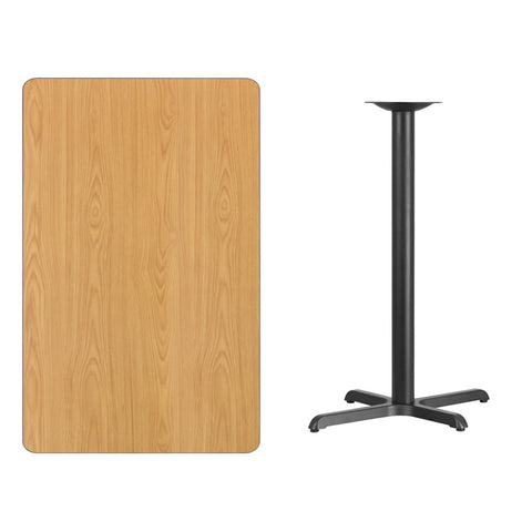 Rectangular Natural Laminate Table Top with 22'' x Bar Height Table Base