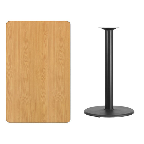 Rectangular Natural Laminate Table Top with Round Bar Height Table Base