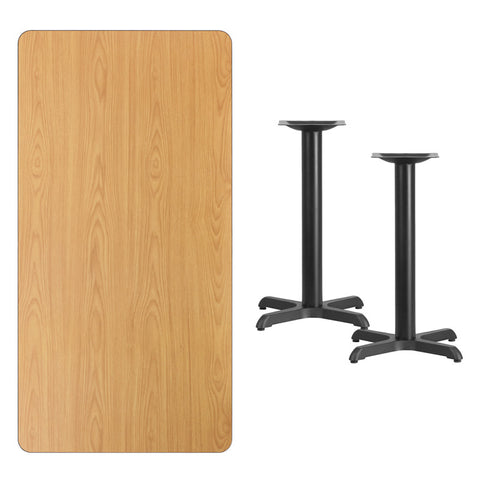 Rectangular Natural Laminate Table Top with 22'' x 22'' Table Height Bases