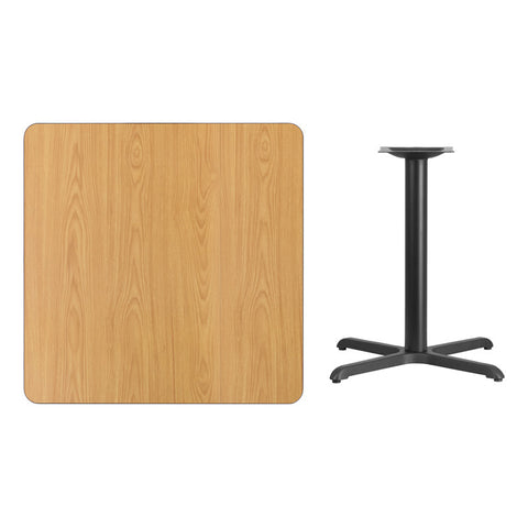 Square Natural Laminate Table Top with x Table Height Base