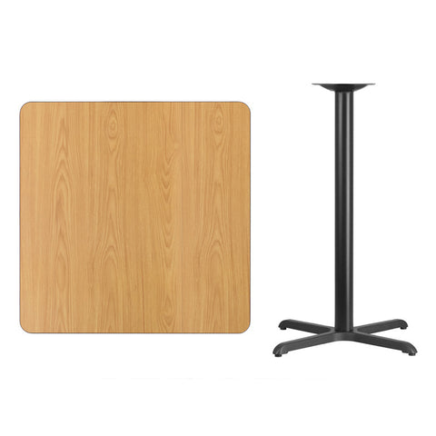 Square Natural Laminate Table Top with x Bar Height Table Base