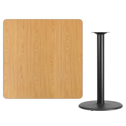 Square Natural Laminate Table Top with Round Bar Height Table Base