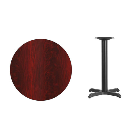 Round Mahogany Laminate Table Top with 22'' x 22'' Table Height Base