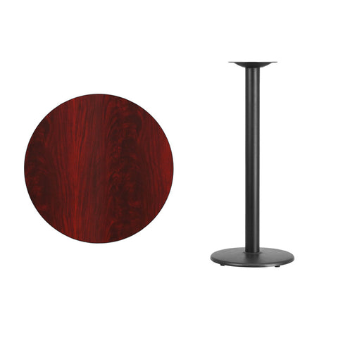 Round Mahogany Laminate Table Top with 18'' Round Bar Height Table Base